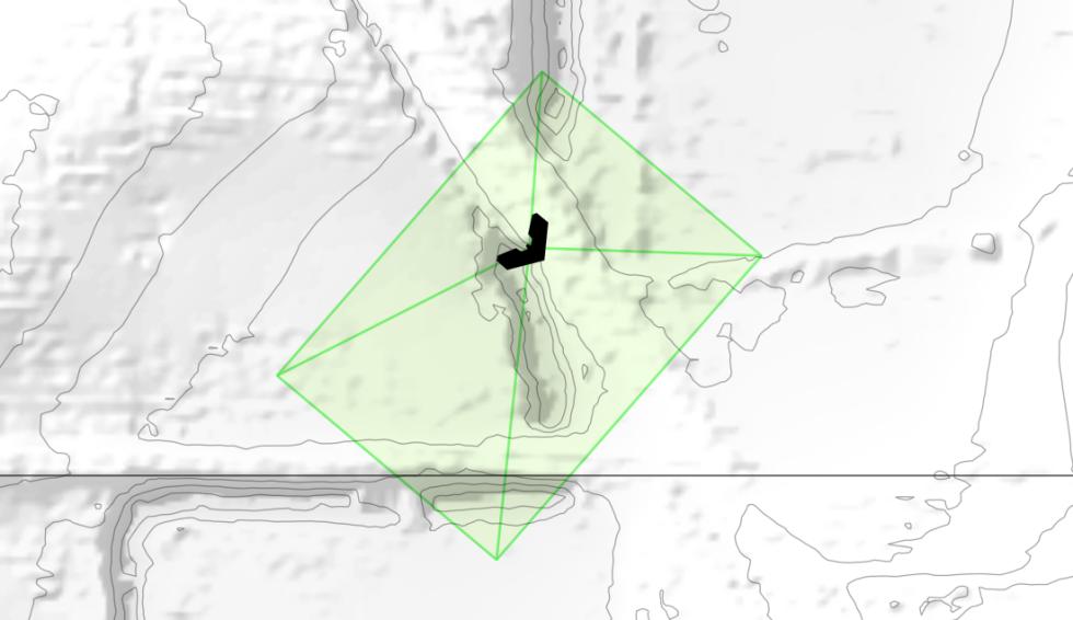 Nadir view of viewing pyramid for individual drone image