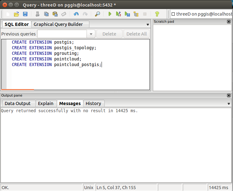 Screen shot of pgAdmin with CREATE EXTENSIONS for all the fun postgresql extensions... .