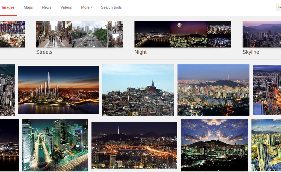 Screen shot of image search for Seoul