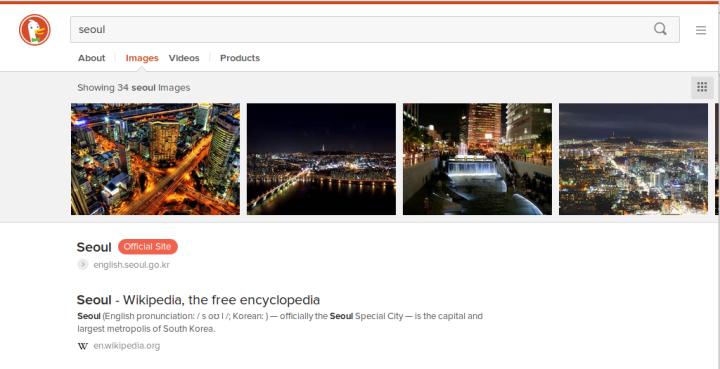 Screen shot of DuckDuckGo search for Seoul