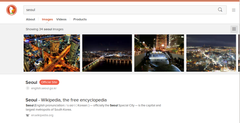 Screen shot of DuckDuckGo search for Seoul