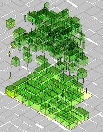 Isometric 3D visualization of 3D chipping