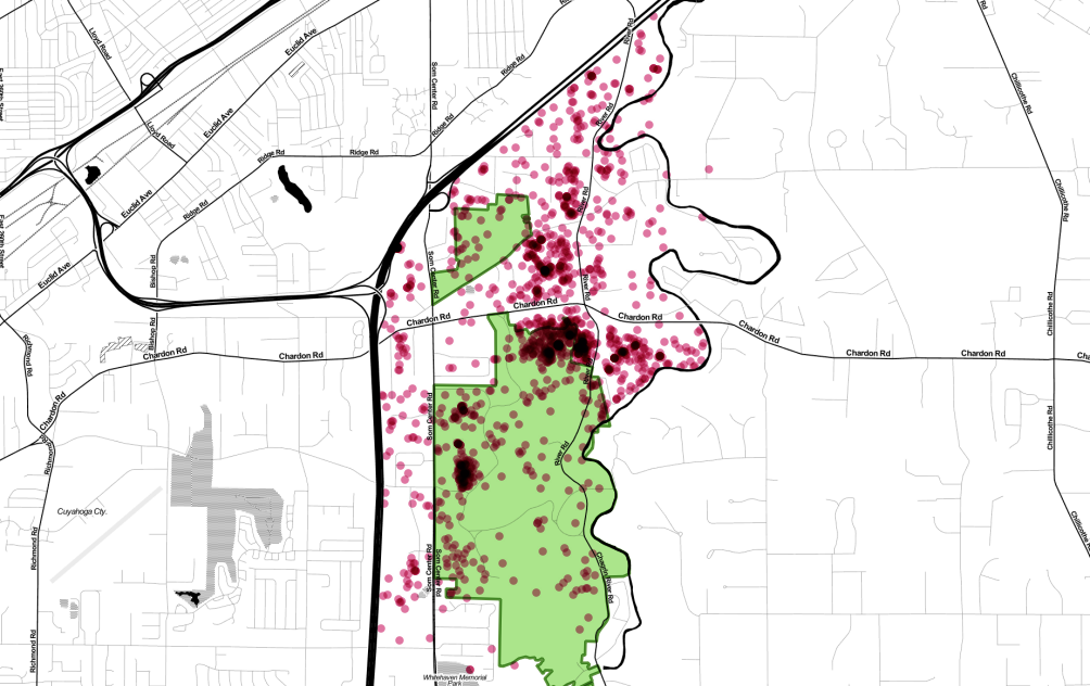 Map of raw coyote data-- all points, showing all available collar GPS points