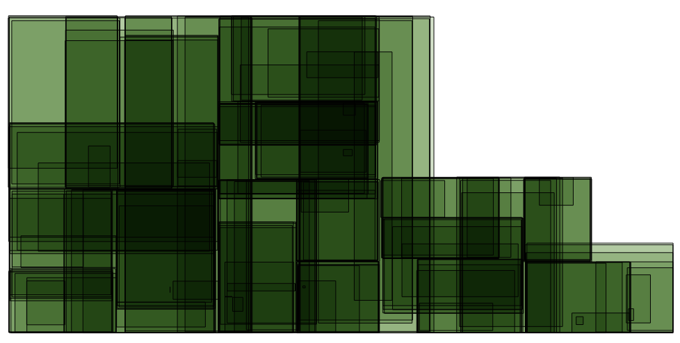 Plaid-like overlay of vertical patches
