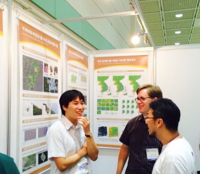 Photo of Mr. Yu, B.J. Jang, and Stephen Mather at Smart GeoSpatial Expo 2014