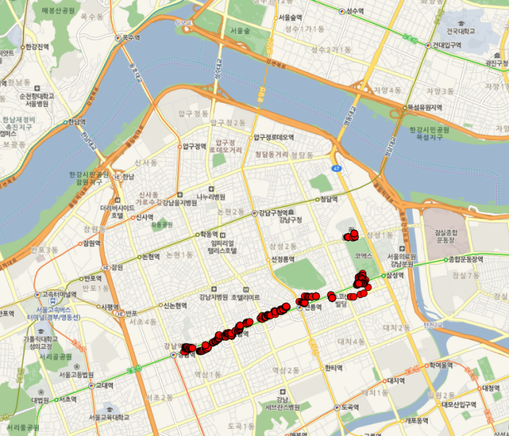 Naver map with photo locations overlayed as red dots