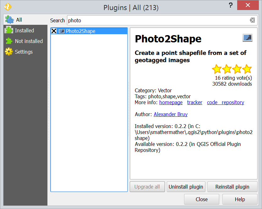 Screen snapshot of photo2shape plugin install screen
