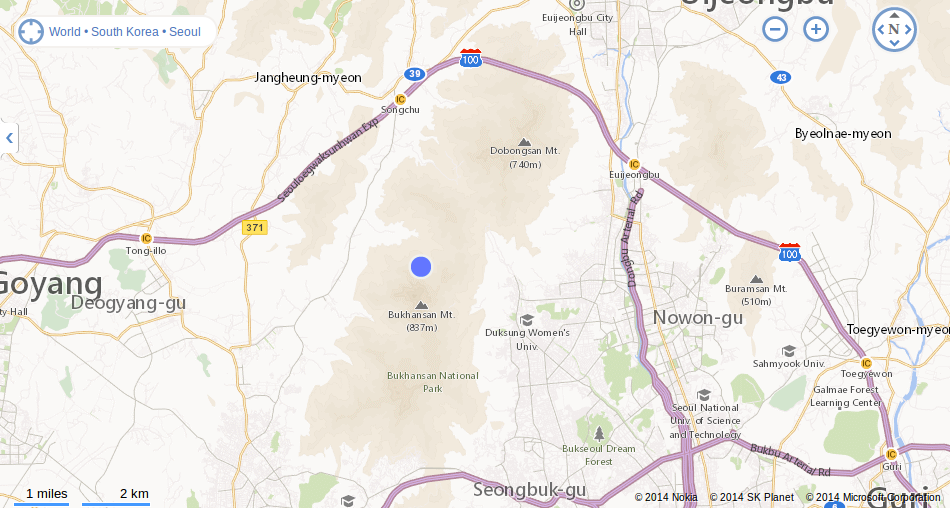 snapshot of bing map of Bukhansan National Park