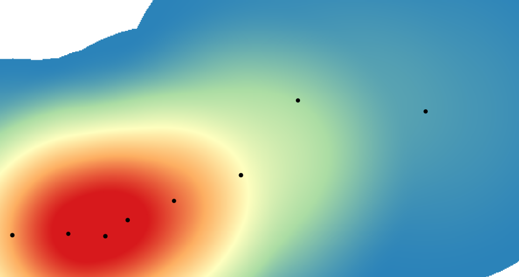 Heatmap showing clumping of data points