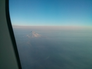 Photo of mountain in the Cascades from airplane