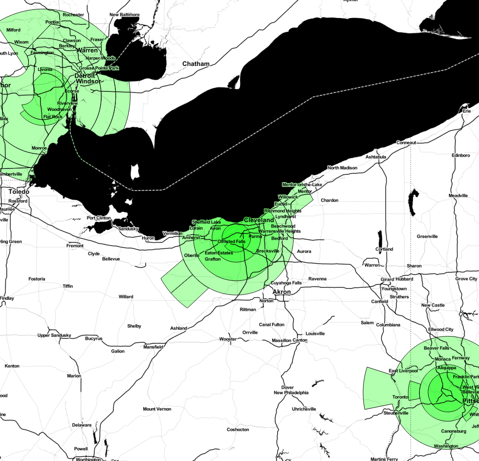 Map of Detroit, Cleveland, and Pittsburgh Class B Airspace