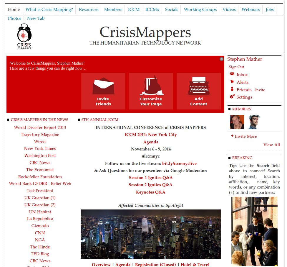 Screen shot of Crisis Mappers landing page