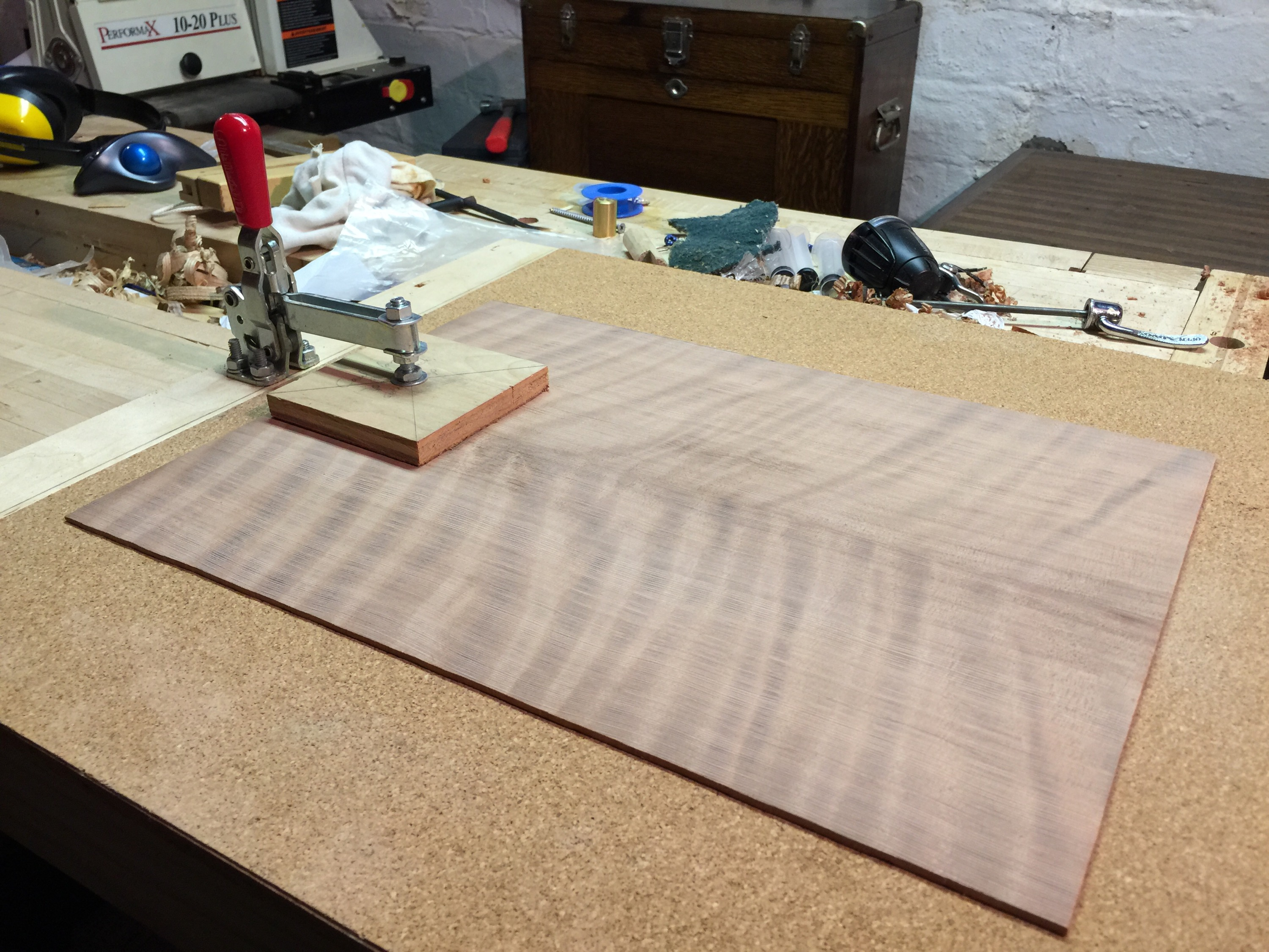 Curly Redwood Top -- jointed and sanded to thickness. This is the face of the future tenor guitar.