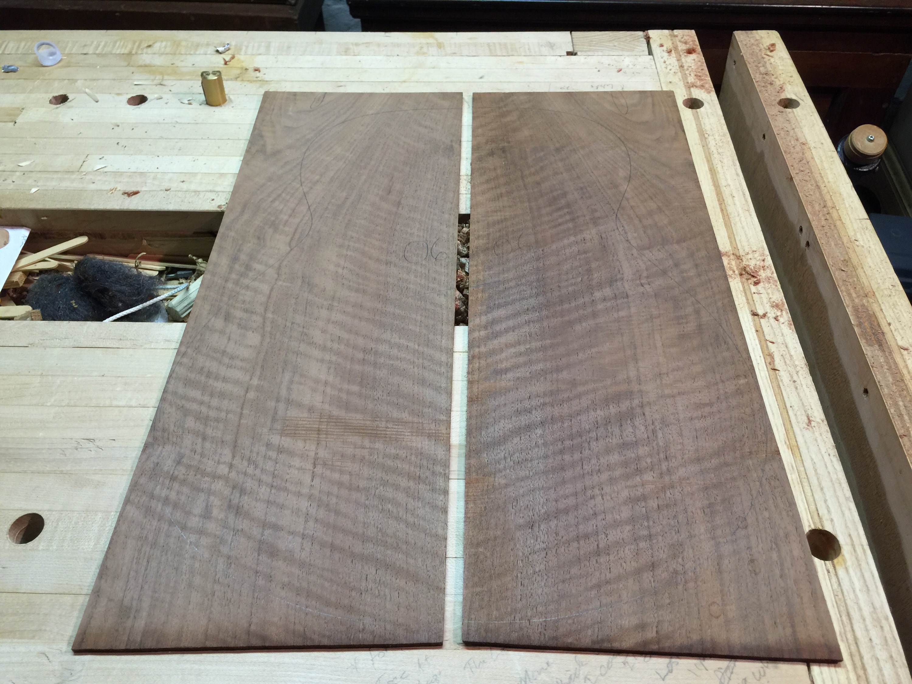 Curly Claro walnut back -- unjoined. This will be the back of the tenor guitar.