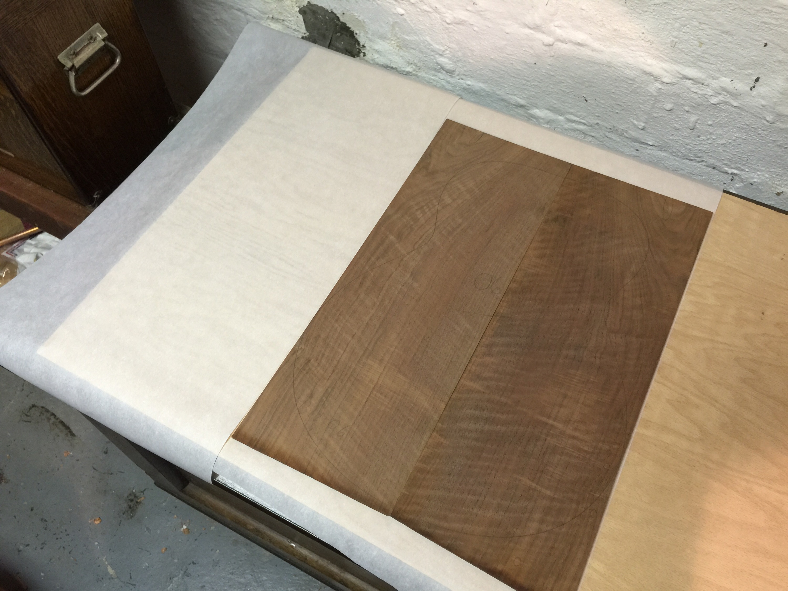 Jointed claro walnut boards reunited.