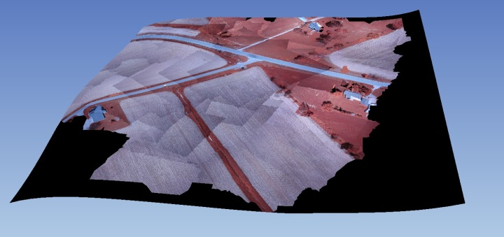Textured mesh of Seneca test dataset (flown by Fred Judson and others of ODOT with Sensefly Swinglet). Ignore curves-- they are all in the no-data areas.