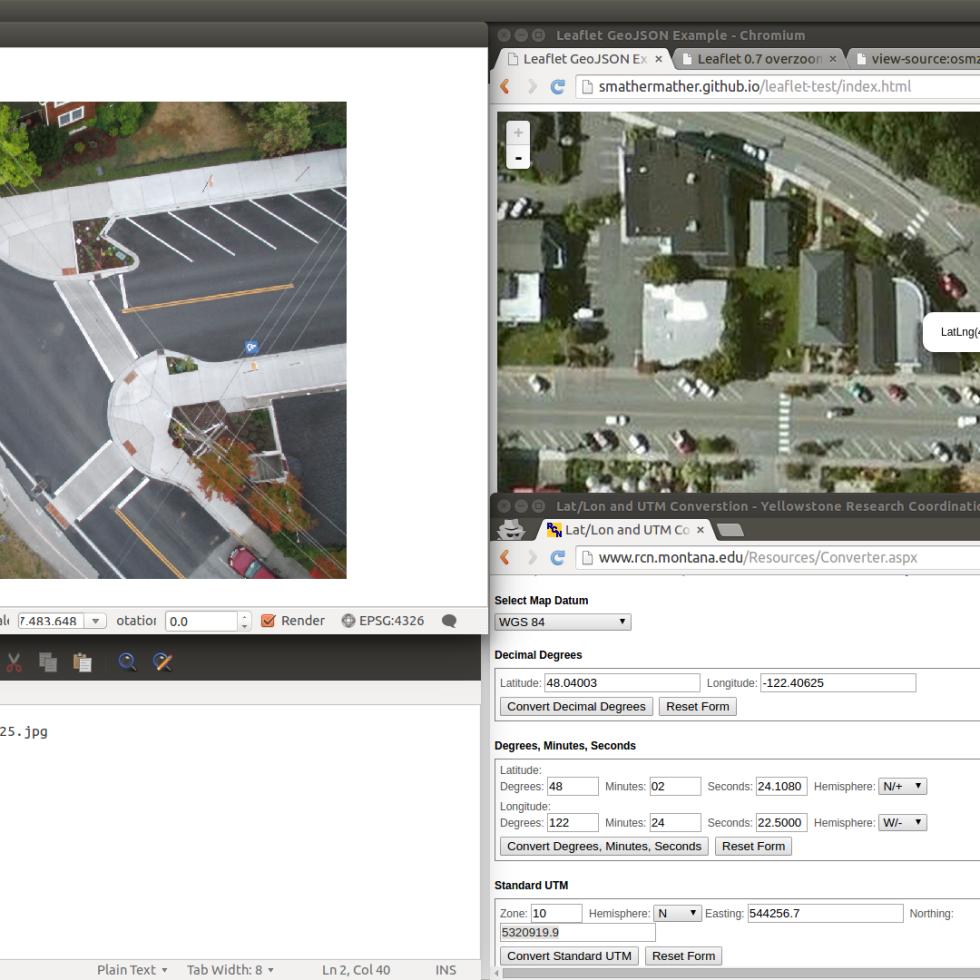 Screenshot of coordinate collection process