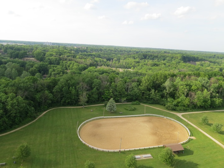 Kite aerial photography image over bridle riding ring.