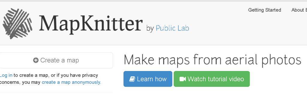 Snapshot of MapKnitter landing page