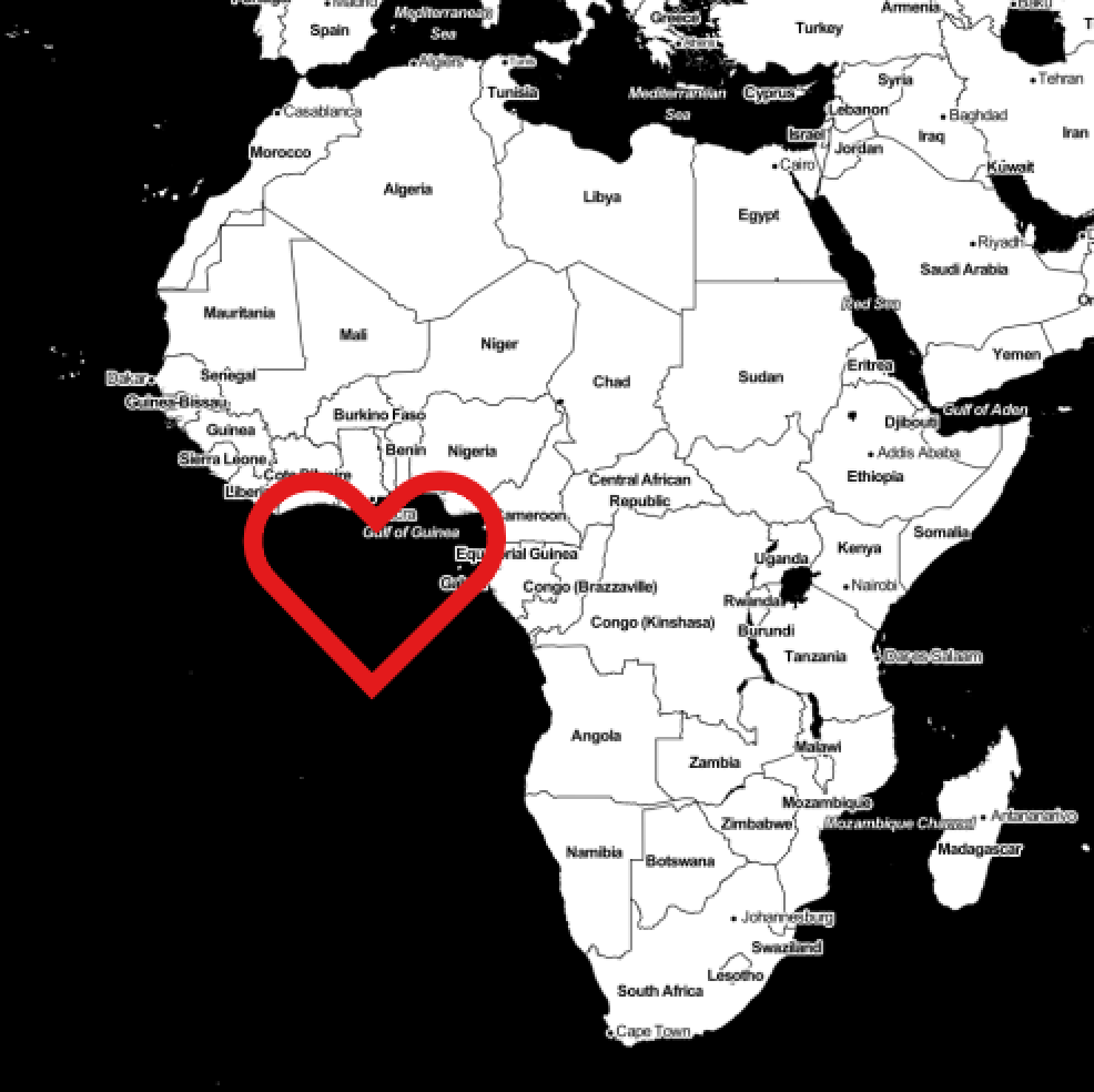 Heart shaped buffer over Null Island.