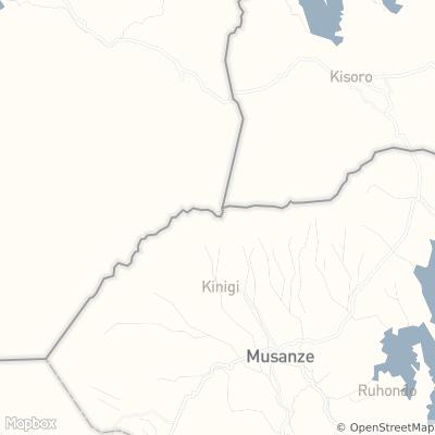 Zoomed in map of Rwanda centered near Karisoke