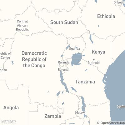 Map of East Africa centered on Rwanda