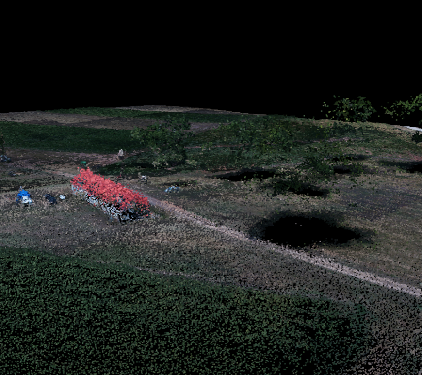 Point cloud including building and trees