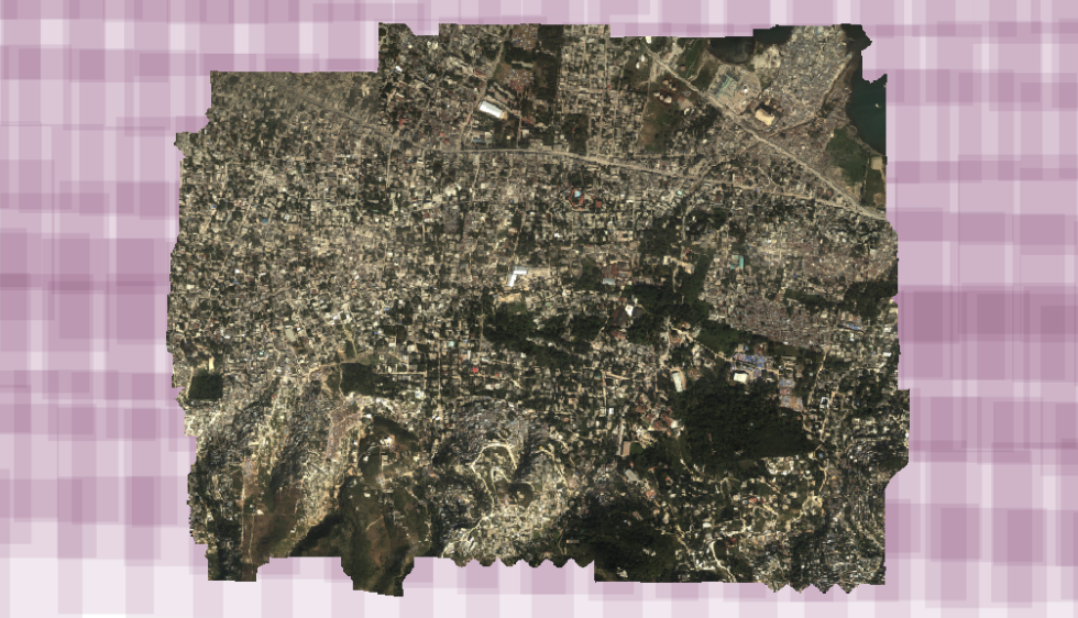 OpenDroneMap derived mosaic of input orthophotos with remaining image boundaries to process in the background.