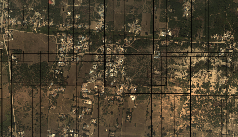 Image of aerials with lines showing boundaries of overlapping independently orthorectified imagery.