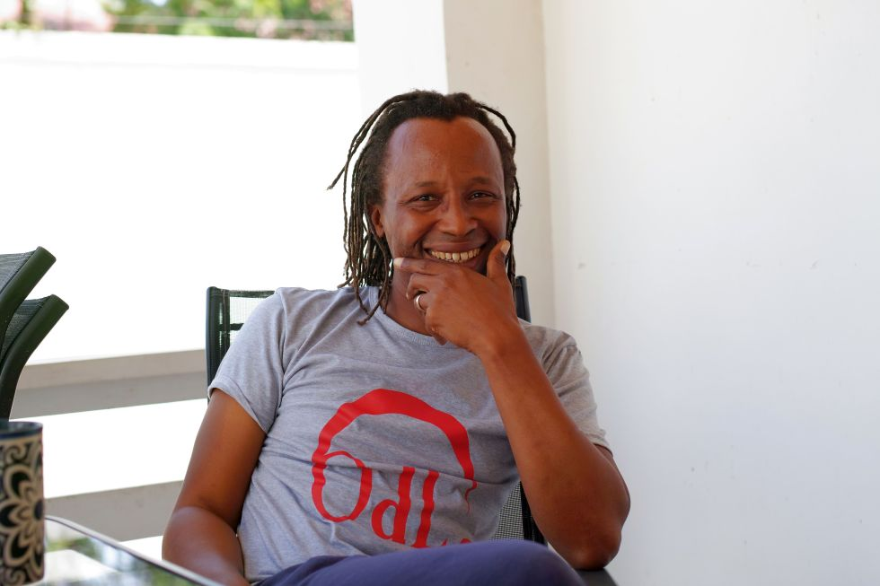 Frederick Mbuya at breakfast