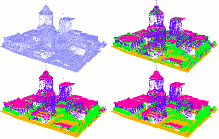 Image of 3 classifications of the same point cloud using CGAL