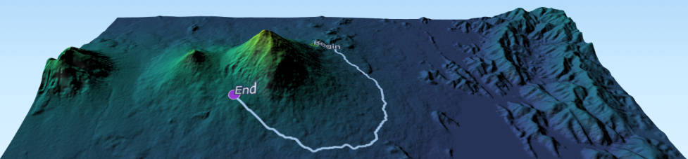 Least-cost path around Volcan Muhabura; or how to avoid volcanos with GRASS GIS in 3D