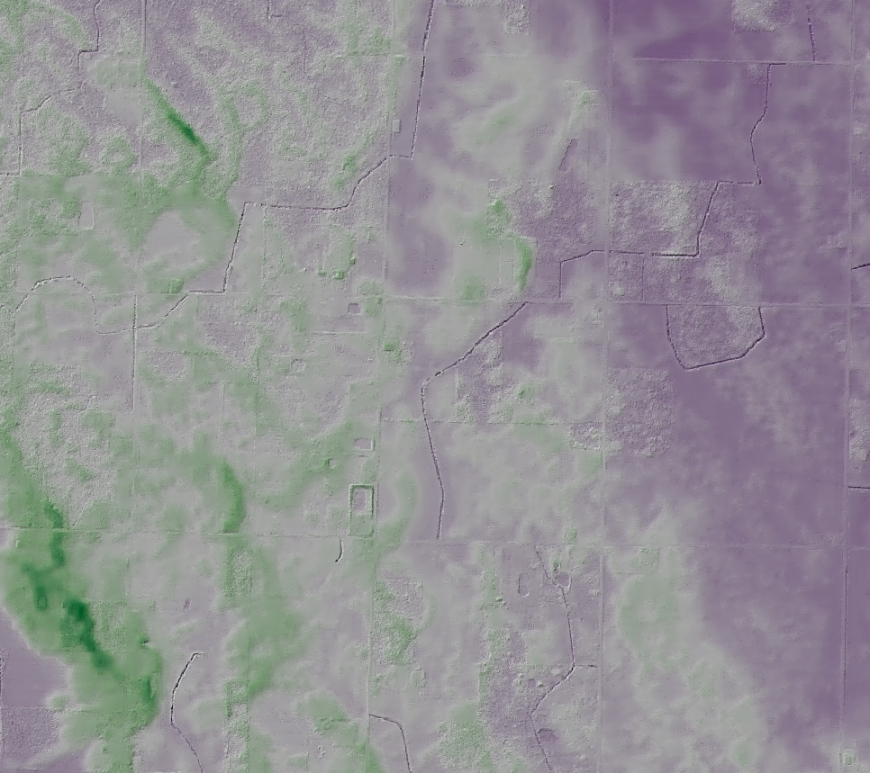 Shaded elevation model in green and purple