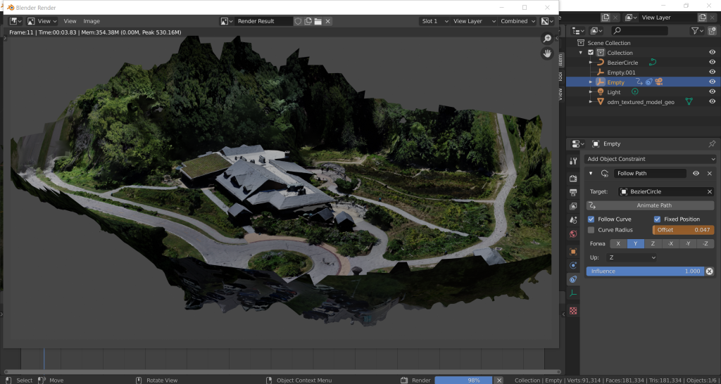 Screen shot of animation workflow of OpenDroneMap scene in Blender