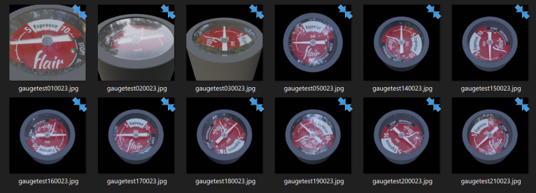 Screen shot of gauge from multiple perspectives and multiple lighting conditions