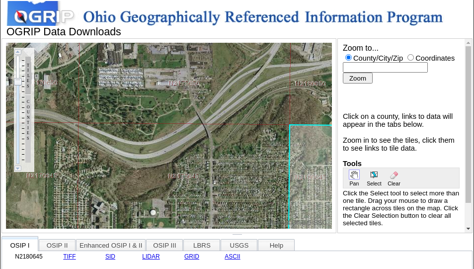 Screenshot of Ohio Georeferenced Information Program website